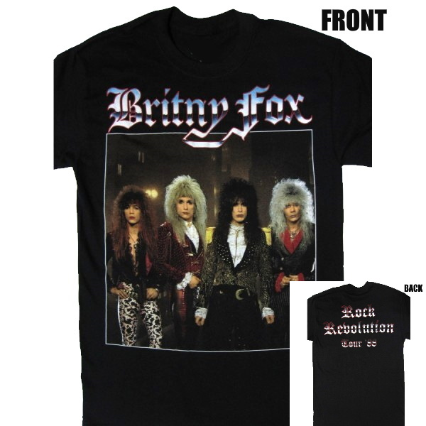 【BRITNY FOX】ロックTシャツ メンズ バンドTシャツ メンズ BRITNY FOX ROCK REVOLUTION TOUR 1988 ブリトニー フォックス ツアーバンドTシャツ S/M/L/XL/XXL